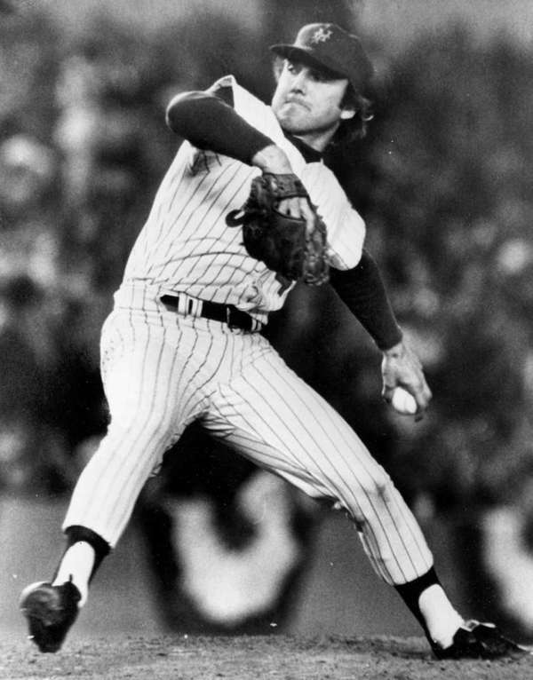 New York Mets relief pitcher Tug McGraw winds