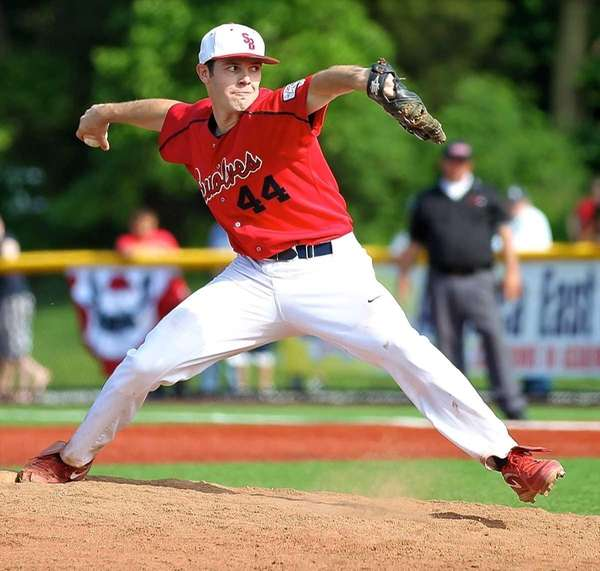 Stony Brook starting pitcher Tyler Johnson #44 delivers