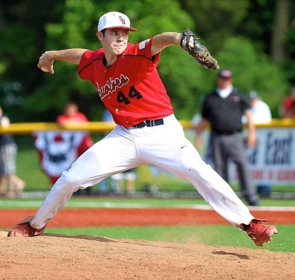 Stony Brook starting pitcher Tyler Johnson #44 delivers