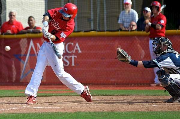 Stony Brook's Travis Jankowski #6 drives a hit