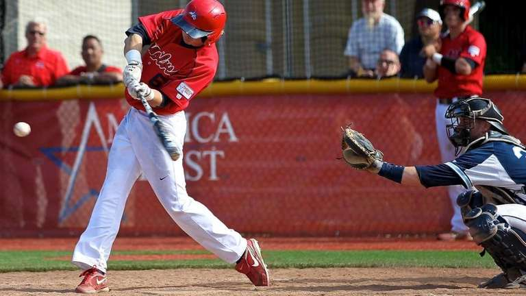 Stony Brook's Travis Jankowski #6 drives a hit
