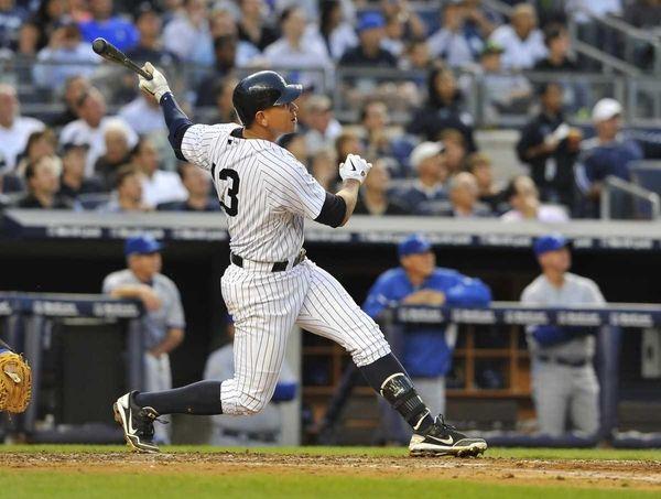 Alex Rodriguez hits a solo home run in