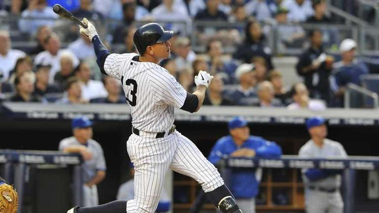 Alex Rodriguez hits a solo home run in