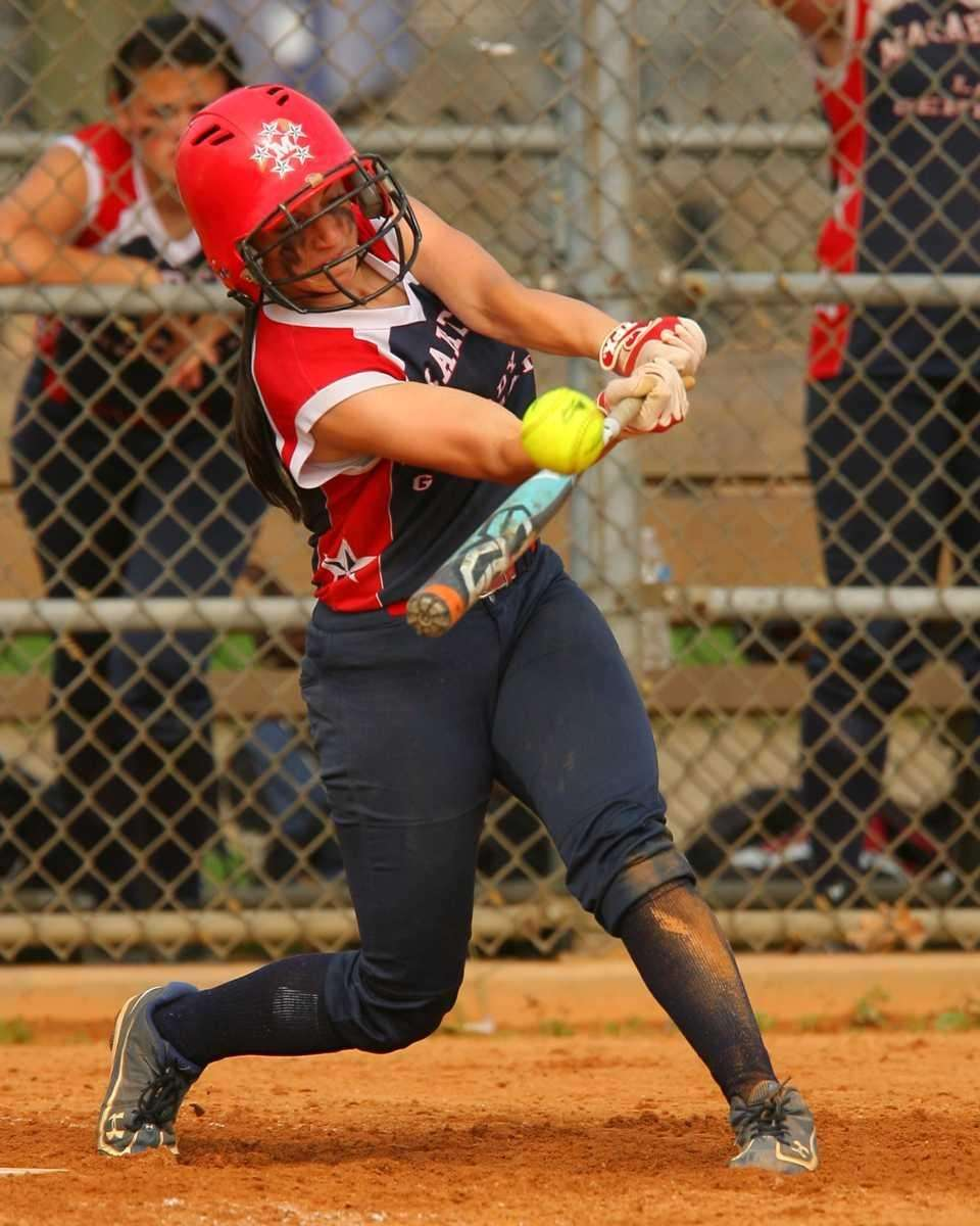 MacArthur's Kristin Dale crushes a line drive during