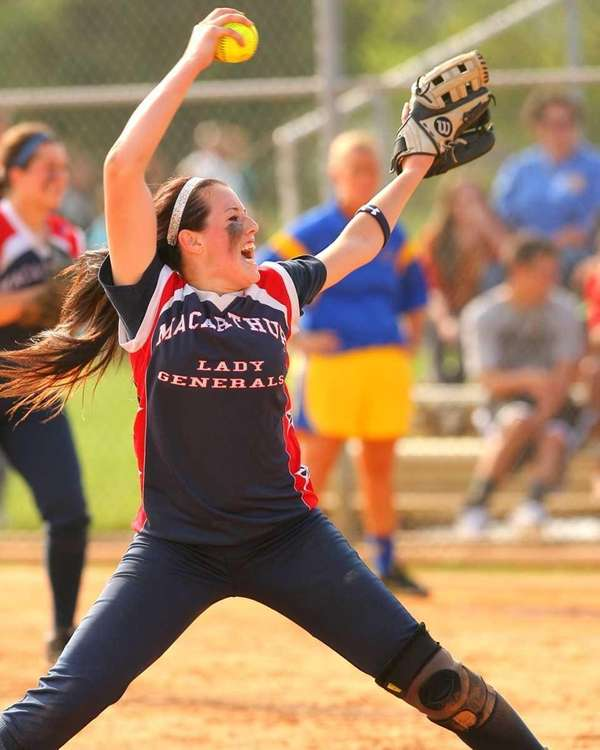 MacArthur's Kristen Brown #2 delivers a pitch during