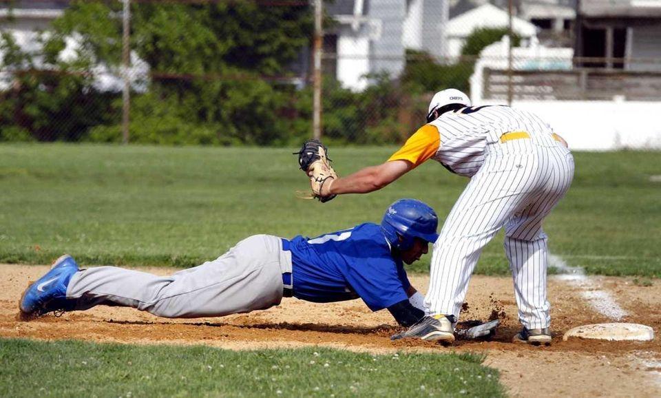 Calhoun catcher Alex Rodriguez (13) beats the pickoff