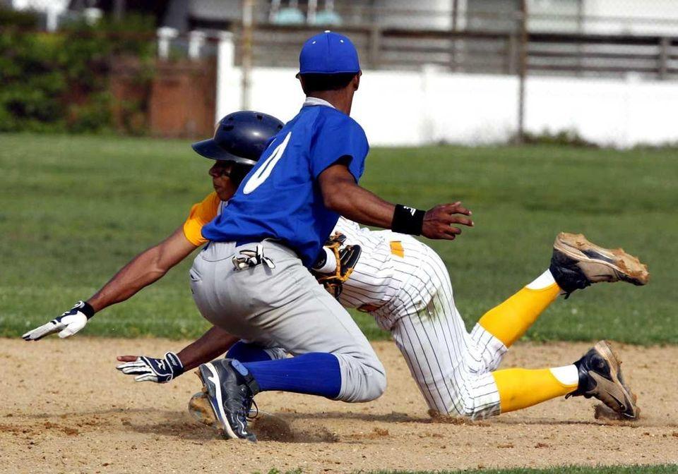 Calhoun second baseman Alex Vargas (10) puts the