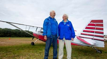 Pilots Jesse Eldridge, 76, left, and his wife,