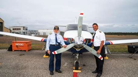James Plackis, 94, left, is an experienced pilot