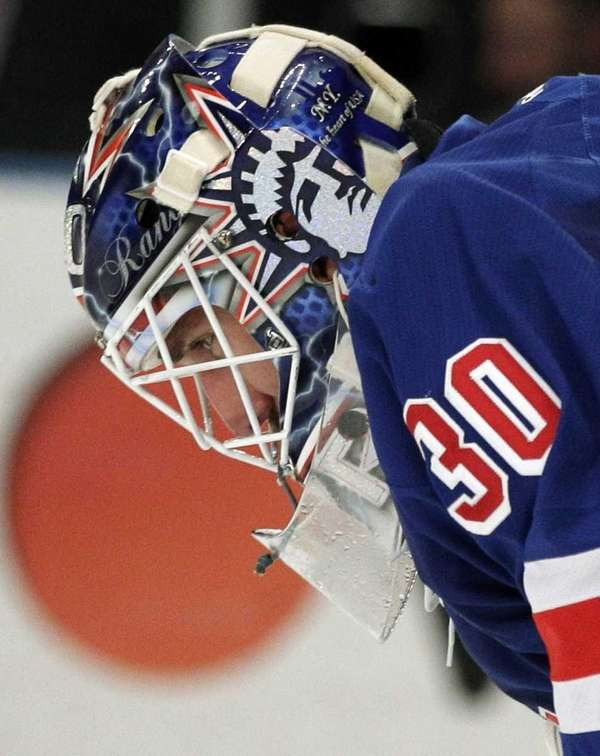 New York Rangers goalie Henrik Lundqvist, of Sweden,