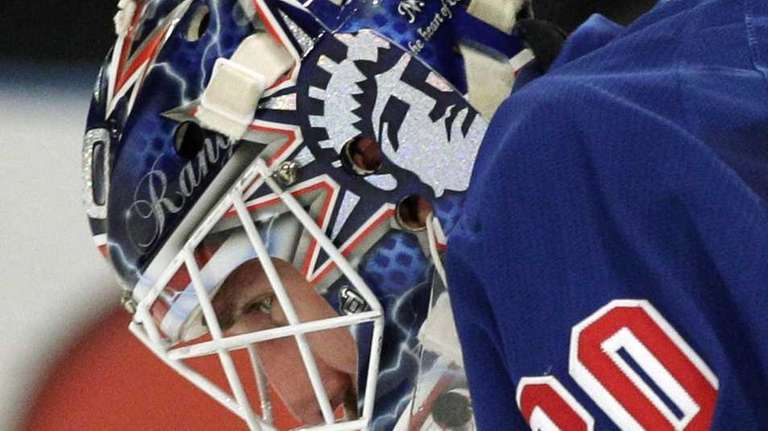 New York Rangers goalie Henrik Lundqvist, of Sweden,