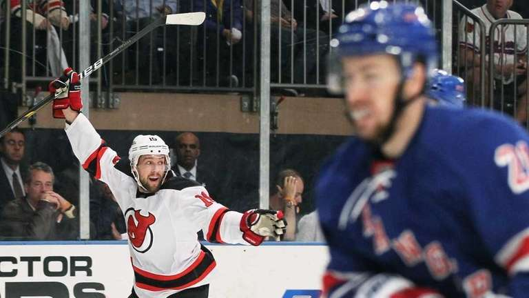 Travis Zajac of the New Jersey Devils celebrates