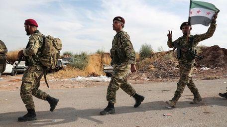 Syrian Kurdish fighters of Turkey-backed Free Syrian Army