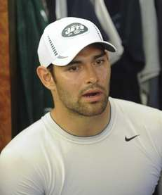 Mark Sanchez talks to reporters at the Atlantic