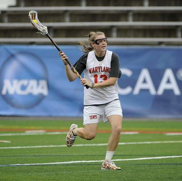 Maryland's Kelly McPartland (Farmingdale High School) practices before
