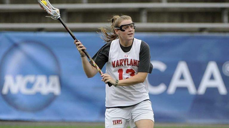 Maryland's Kelly McPartland (Farmingdale High School) practices before