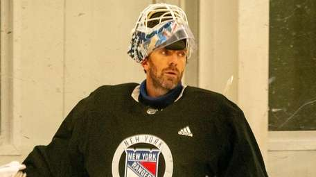 Rangers goalie Henrik Lundqvist at training camp.