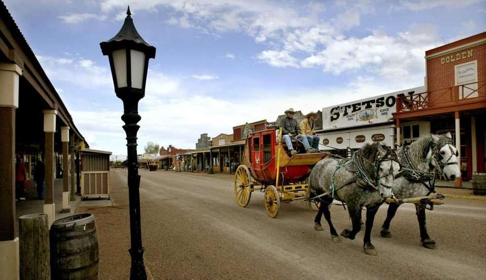 A stagecoach takes visitors on a tour around