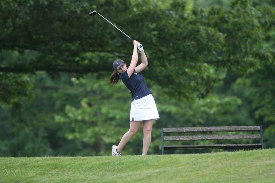 Smithtown West's Victoria Snak tees off during the