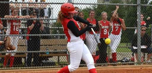Kate Finnen of Plainedge connects for a single