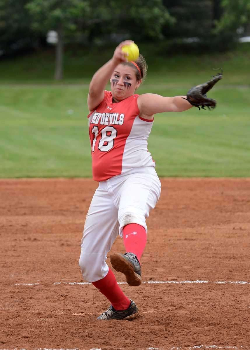 Plainedge's Kim Nowak delivers a strike against Island