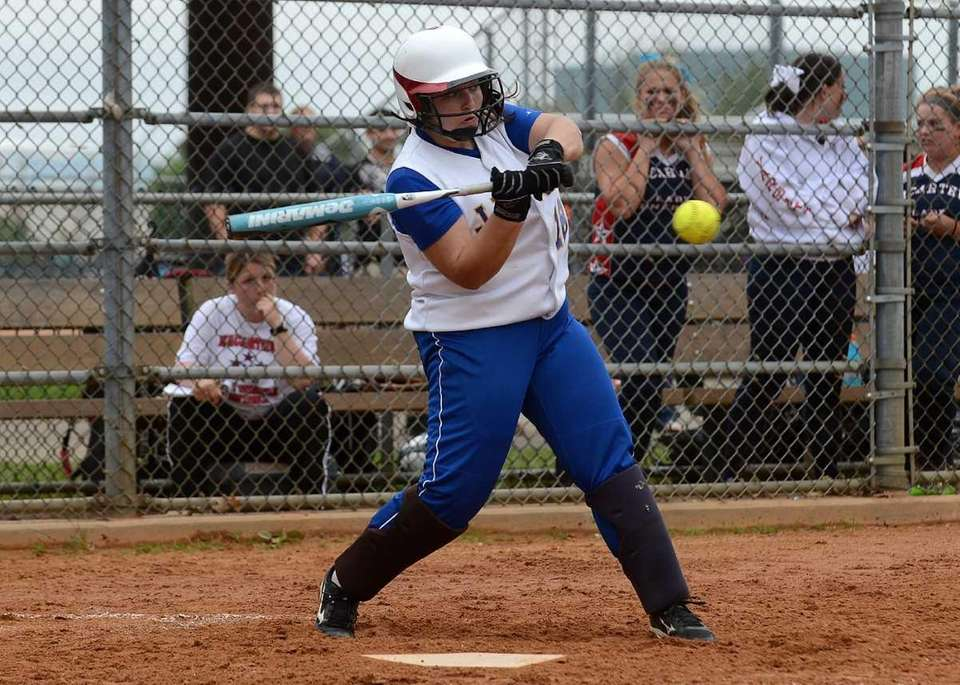 East Meadow's Dina LaRosa connects for a single