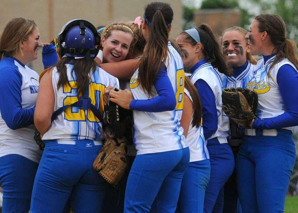 Kellenberg teammates celebrate their 10-0 win over St.