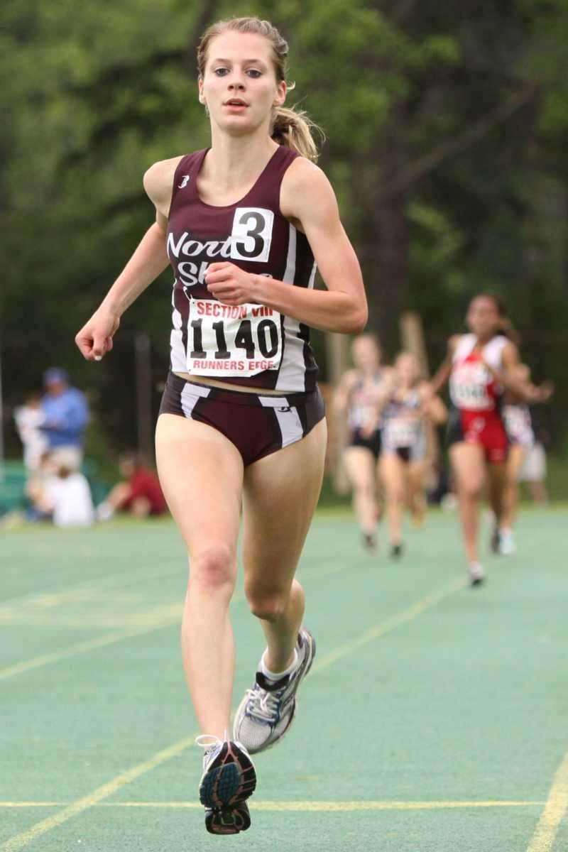 North Shore's Samantha Nadel approaches the finish line