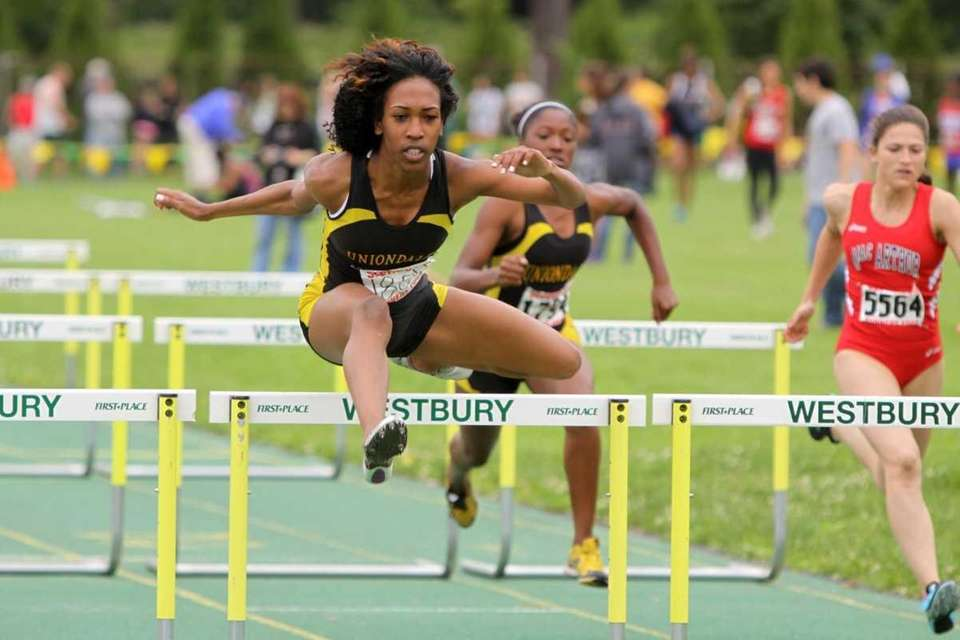 Uniondale's Brittney Webley approaches the finish line during