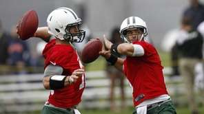 Tim Tebow and Mark Sanchez work out at
