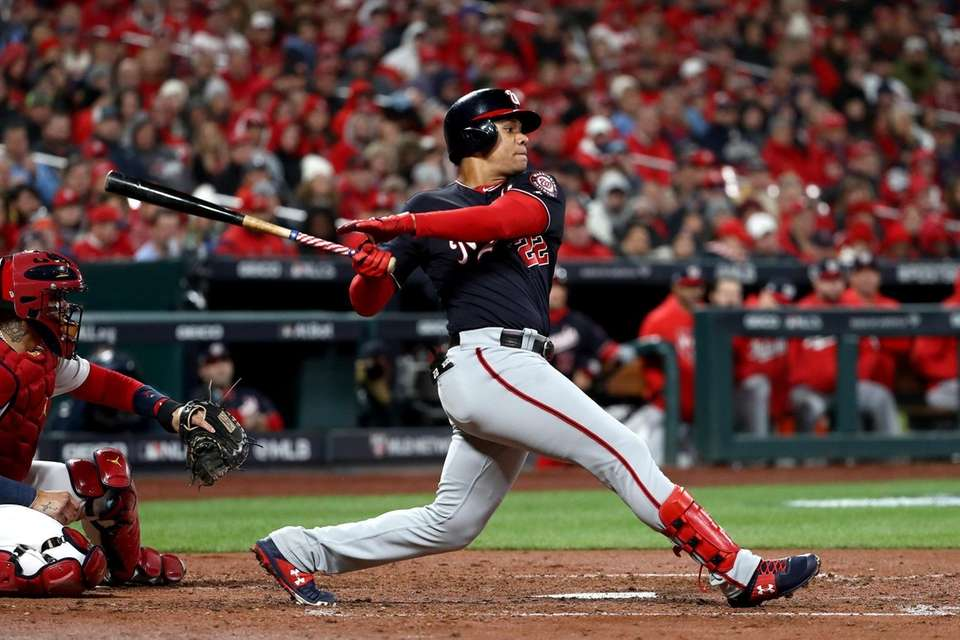 Juan Soto of the Washington Nationals grounds out