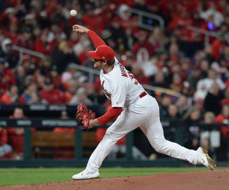 St. Louis Cardinals starting pitcher Miles Mikolas releases