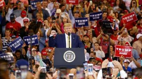 President Donald J. Trump speaks to supporters at