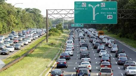 Cars stopped in traffic one northern state parkway.