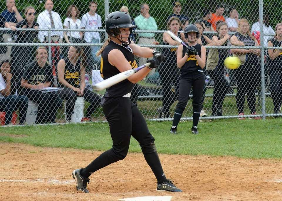 Sayville's Jackie Christensen connects for a two-run double