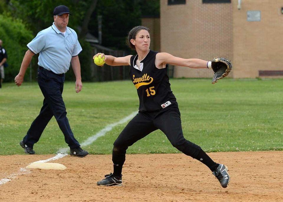 Sayville's Kira Kar makes the throw to first