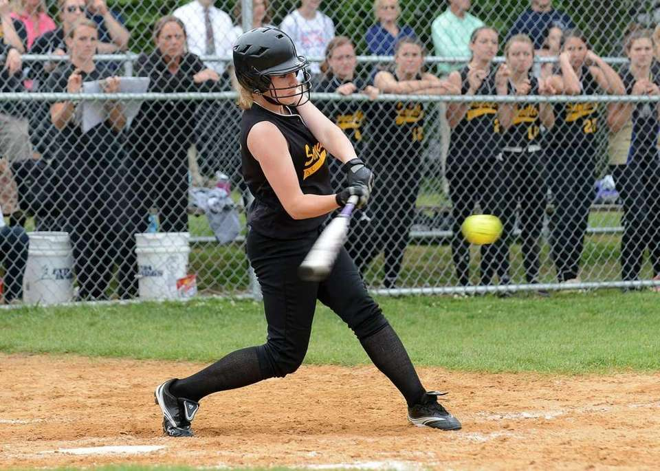 Sayville's Cindy Griffin connects for an RBI single