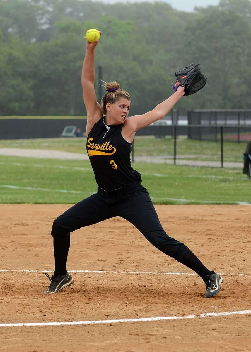 Sayville's Merissa Selts winds up for the pitch
