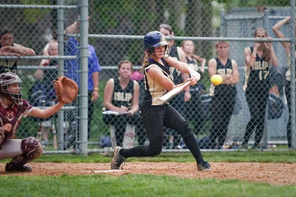 Islip's Faith Laudano bats during a Suffolk softball