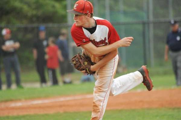 Connetquot relief pitcher Casey Baker closes out the