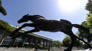 A statue of Secretariat at Belmont Park in