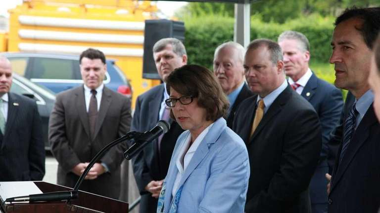 LIRR President Helena Williams speaks during a press