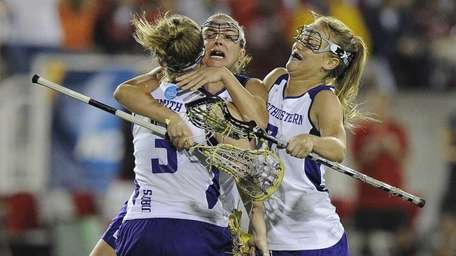 Northwestern's Shannon Smith, Jessica Russo and Erin Fitzgerald,