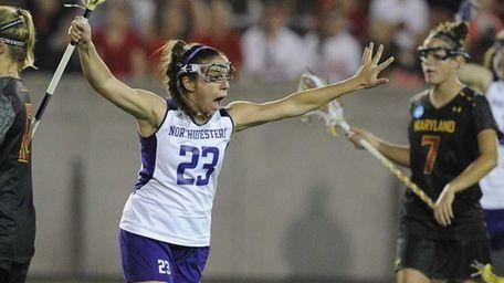 Northwestern attacker Jessica Russo celebrates her goal against