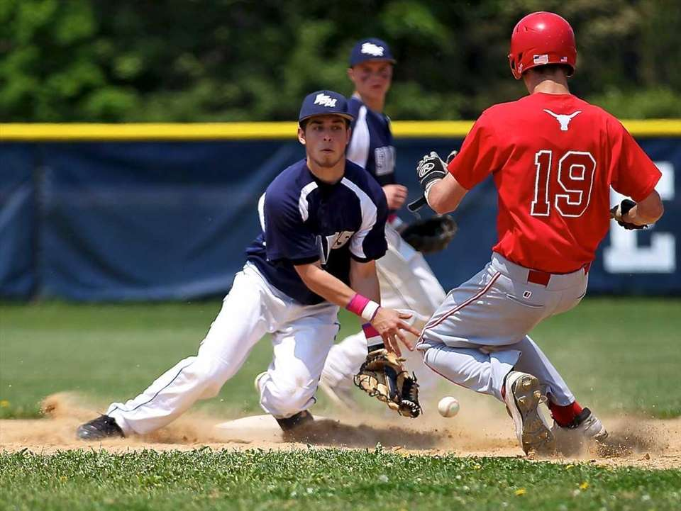 Eastport-South Manor second baseman Anthony Annunziata can't corral