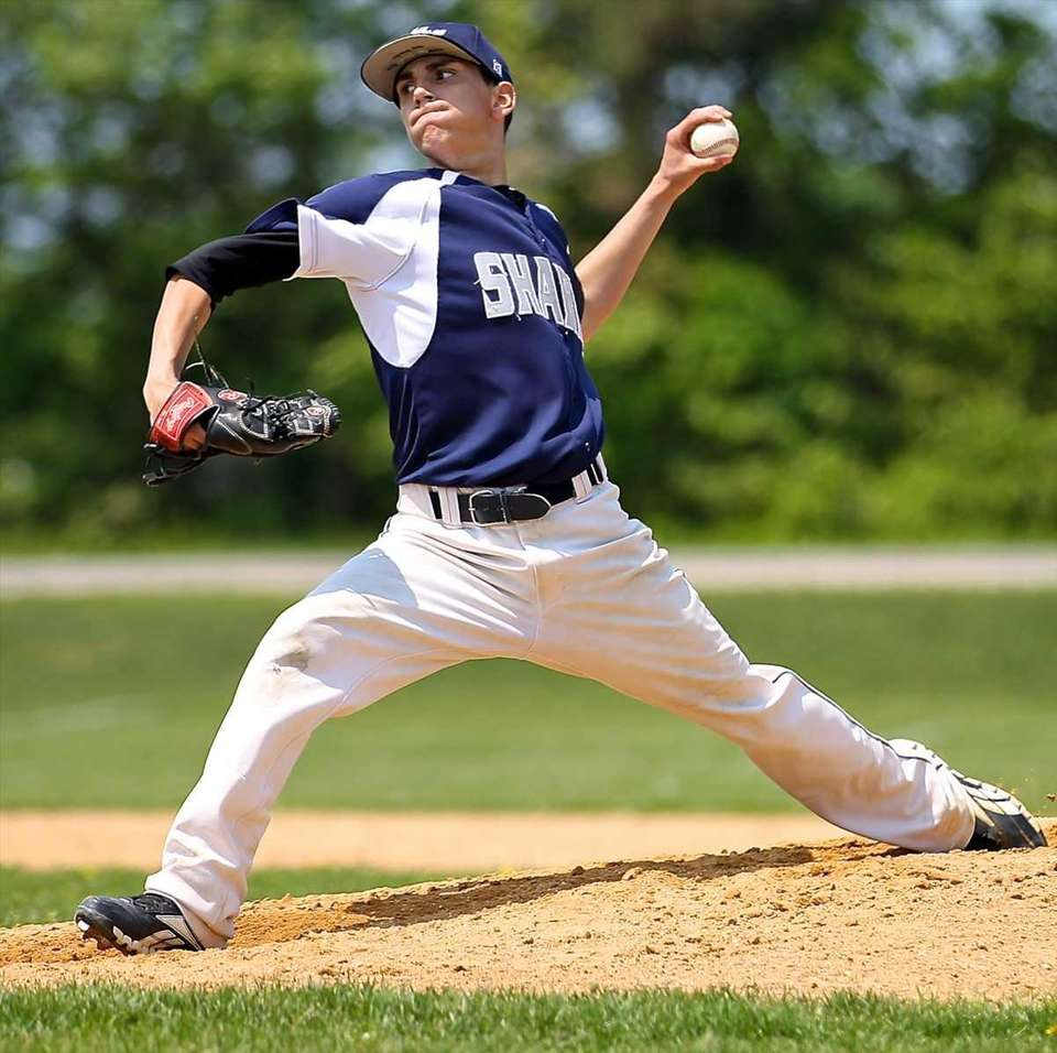 Eastport-South Manor's starting pitcher Ryan Gili delivers against