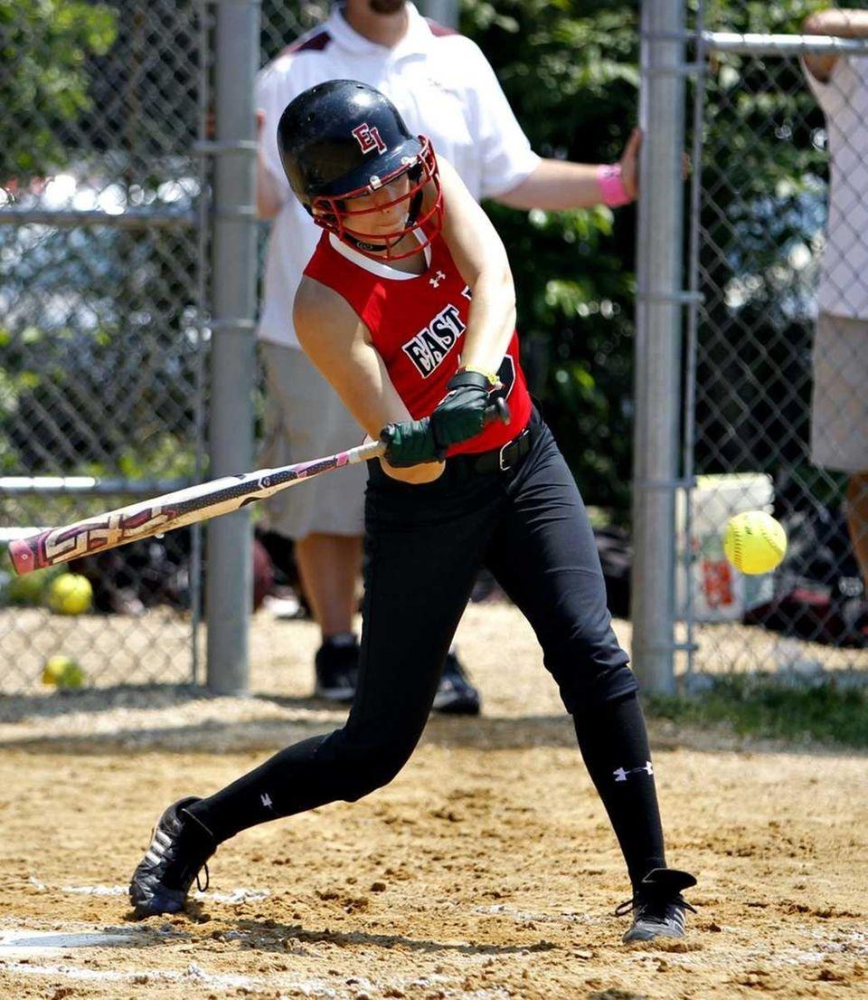 East Islip's Courtney Blake (5) hits an RBI