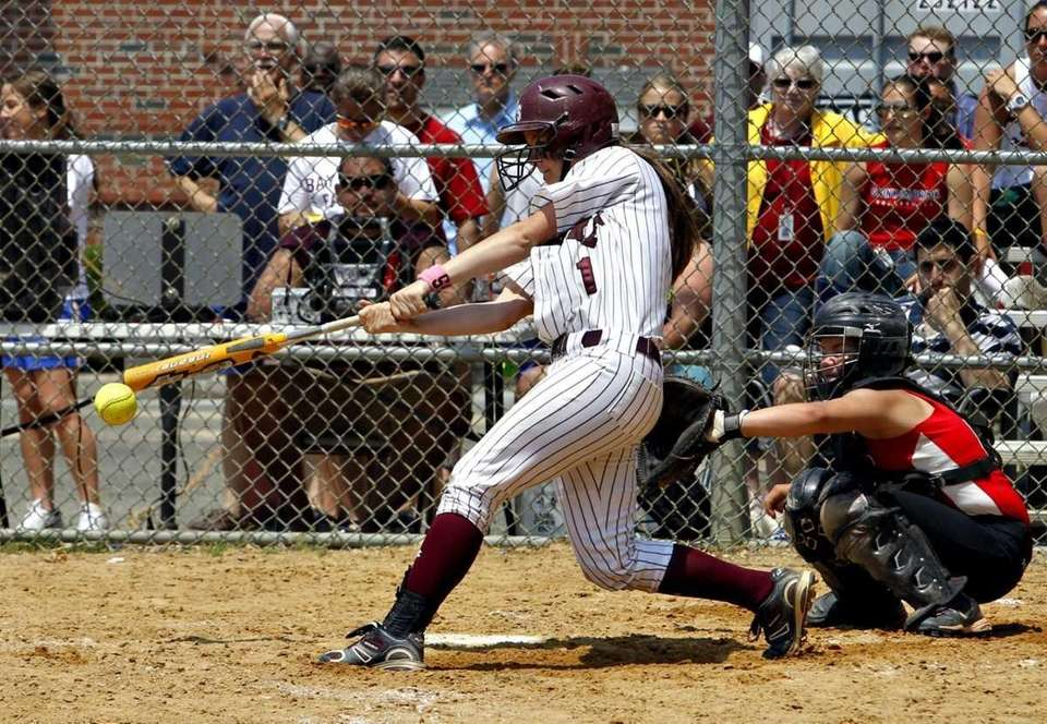 Bay Shore's Courtney Syret (1) connects for a