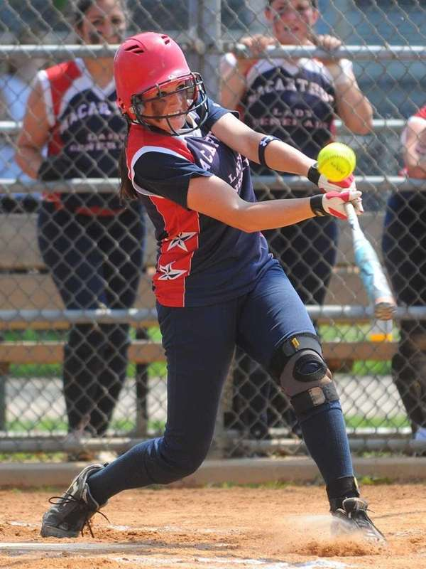 MacArthur pitcher #2 Kristen Brown hits a single