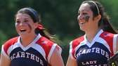 MacArthur first baseman Kaitlyn Fitzsimmons, left, congratulates left